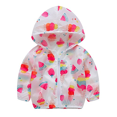 Birdfly Kids Boy Girl Cute Fruit & Puppy & Dot & Pure Color Print Sunscreen Waterproof Translucent Jacket Hooded Zip up Coat Outwear Baby Fall Rainy Days Clothes School Oufits(4-14T) (10T, Fruit) -