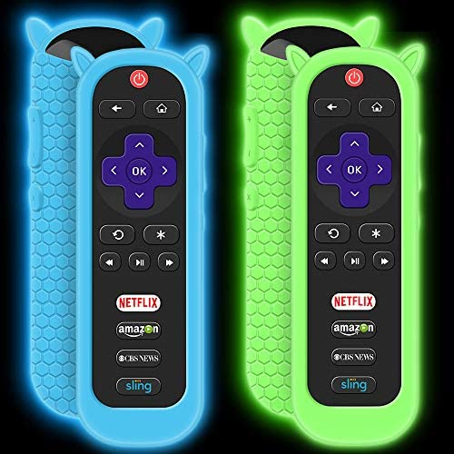 2 Pack Protective Case for TCL Roku TV RC280 Remote, Silicone Cover Shock Proof Remote Controller Skin, Cute Cat Ear Shape Anti Slip Universal Replacement Sleeve Protector-Glow Blue,Glow Green