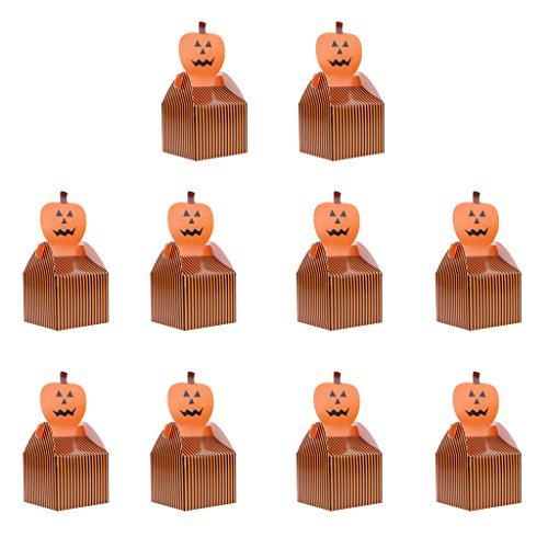 (MagiDeal Happy Halloween Party Cat Spider Ghost Punpkin Favor Box Trick Or Treat DIY Gift Packaging Loot Box Pack of 10 - Pumpkin, as)