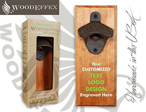 Bottle Opener Magnetic Cap Catcher – Handmade Cherry Wood with Custom Engraved Wording or Logo