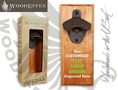 Bottle Opener Magnetic Cap Catcher – Handmade Cherry Wood with Custom Engraved Wording or Logo