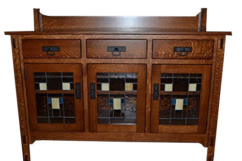 Crafters and Weavers Arts and Crafts Mission Oak Sideboard Buffet with Leaded Glass - Glass Oak Sideboard