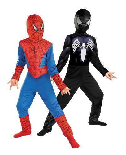 Reversible Spider-Man Red To Black Classic Costume, Child M(7-8) (Spiderman Reversible Costume)