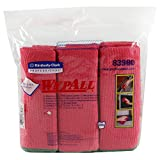 "Kimberly-Clark Professional Kimberly-Clark Wypall 83980 Microfiber Cloths with Microban Protection, 15-3/4"" Length x 15-3/4"" Width, Red (4 Packs of 6)"