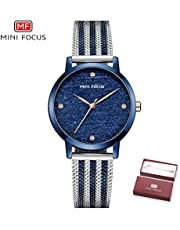 MINI FOCUS Women Quartz Watch Women's Fashion Watches with Steel Mesh Strap 30M Waterproof Female Wristbands for Business & Daily Life (Box Packaged), Blue