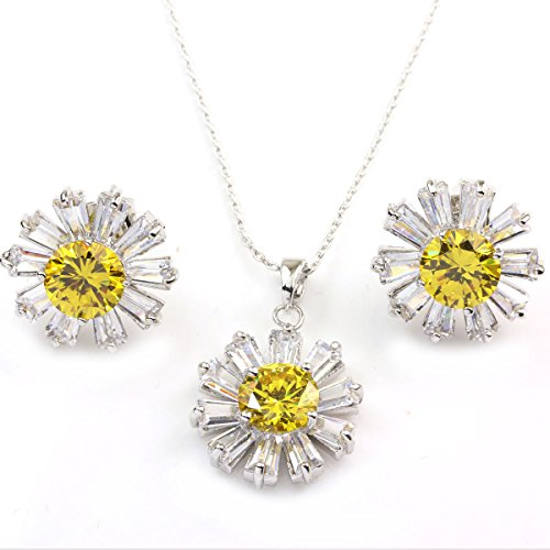 FC White Gold GP Yellow Crystal CZ Daisy Pendant Necklace Earrings Jewelry Sets
