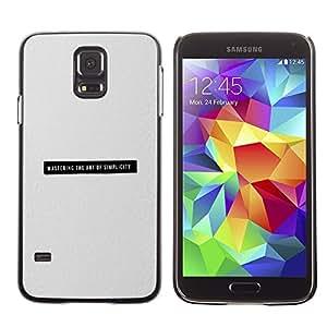 TopCaseStore / la caja del caucho duro de la cubierta de protección de la piel - Minimalist Simplicity Black Text Grey Print - Samsung Galaxy S5 SM-G900