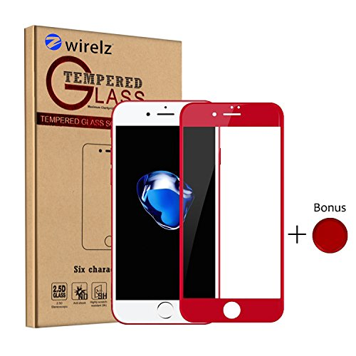 iPhone 7 Plus Screen Protector Glass, Zwirelz Red iPhone 7 Plus Tempered Glass Screen Protector for iPhone 7 Plus With Home Button Sticker/Touch ID Button - 4D Full Coverage/9H Hardness/Anti-Bubble (Screen Protector Sticker)