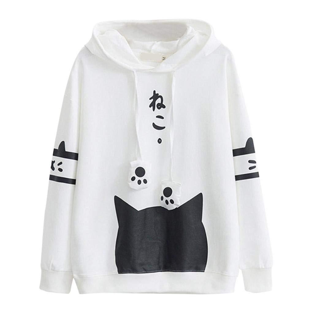 ❀❀ Vendita di Liquidazione Donne Felpa con Cappuccio Tascabile con Stampa Cat Kitty Pullover Camicetta T-Shirt Maniche Lunghe Elegante Autunno Camicette Casual Tops