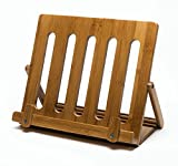 Premium Bamboo Cookbook Holder For Recipe Books&Tablets–Stylish, Safe&Convenient iPad Kitchen Stand For Easy Cooking-Premium Bamboo Wood-Watch Your Favorite Videos Read Recipes While Cooking