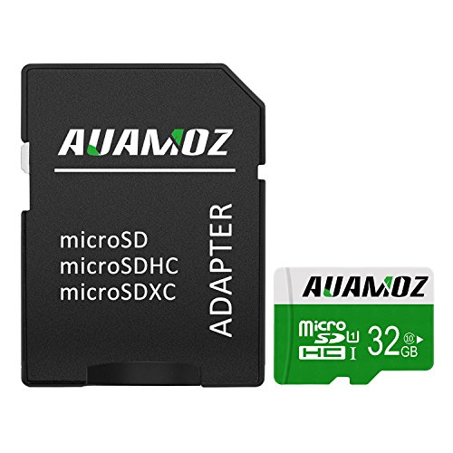 Micro SD Card 32GB, AUAMOZ Micro SDHC Class 10 UHS-I High Speed Memory Card for Phone,Tablet and PCs – with Adapter (Green/White)