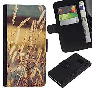 LECELL--Cuero de la tarjeta la carpeta del tirón Smartphone Slots Protección Holder For Samsung Galaxy S6 -- CULTIVOS EN EL SOL --