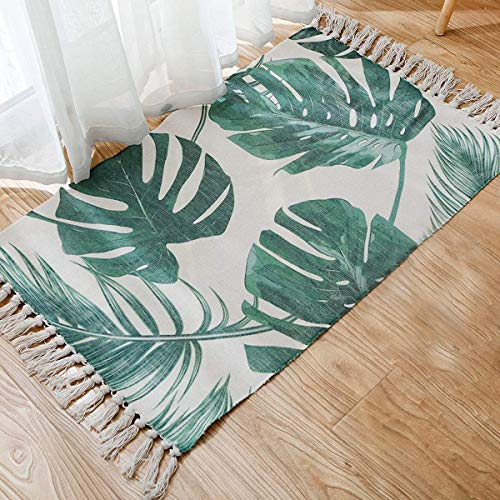 (Cotton Printed Rug, Seavish Decorative Palm Tree Leaves with Tassels Kilim Rug Hand Woven Rag Rug Entryway Thin Throw Mat with Non Slip Pad for Laundry Room Bedroom Dorm, 20''W x 32''L)