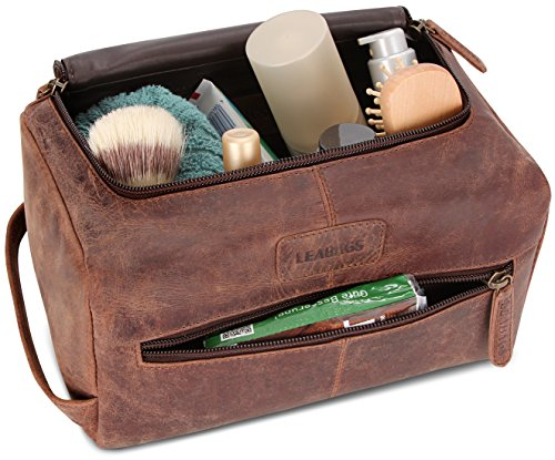 LEABAGS Palm Beach genuine buffalo leather toiletry bag in vintage style - Nutmeg by LEABAGS (Image #7)