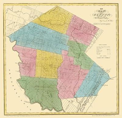 Old County Maps - SULLIVAN COUNTY NEW YORK (NY) LANDOWNER MAP 1829