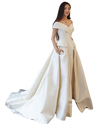8705b08287 Fenghuavip Off The Shoulder Evening Dress Womens Jumpsuit with Long Train  Prom Party Gowns White