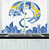 Ambesonne Animal Kitchen Curtains, Funny Hand Paint Cat Character Blue Ornamental Town Houses Abstract Art, Window Drapes 2 Panels Set for Kitchen Cafe, 55W X 39L Inches, Light Blue Blue Yellow For Sale
