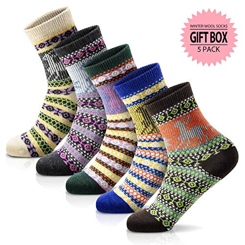 Women Winter Socks Warm Wool Thick Vintage Pattern Girls Cotton Socks Gift Box (Multicolor-08)