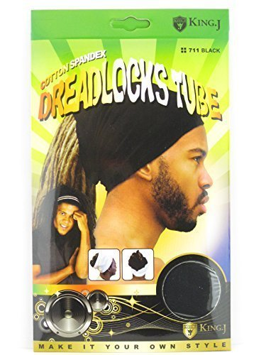King.J Unisex Cotton Spandex Dreadlocks Tube (Black) -
