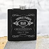 Lily's Atelier - Personalized Groomsmen Flask Gift - Gifts for Wedding, Customized Best man Flasks Matte Black, Engraved 6oz Stainless Steel Flask Custom Personalized Flask Gift Set_LAF3_D4