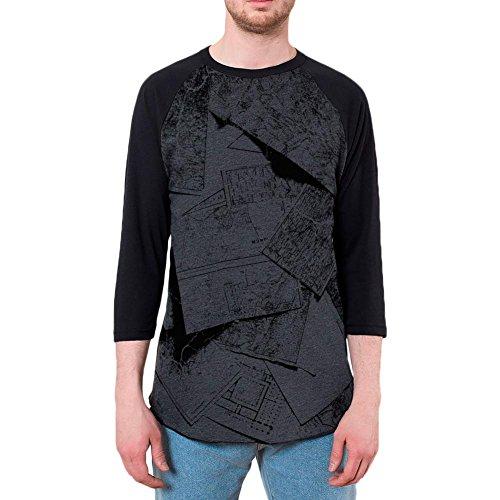Intrepid Explorer (Old Glory Intrepid Explorer Vintage Black and White Mens Raglan T Shirt Heather Black-Black LG)