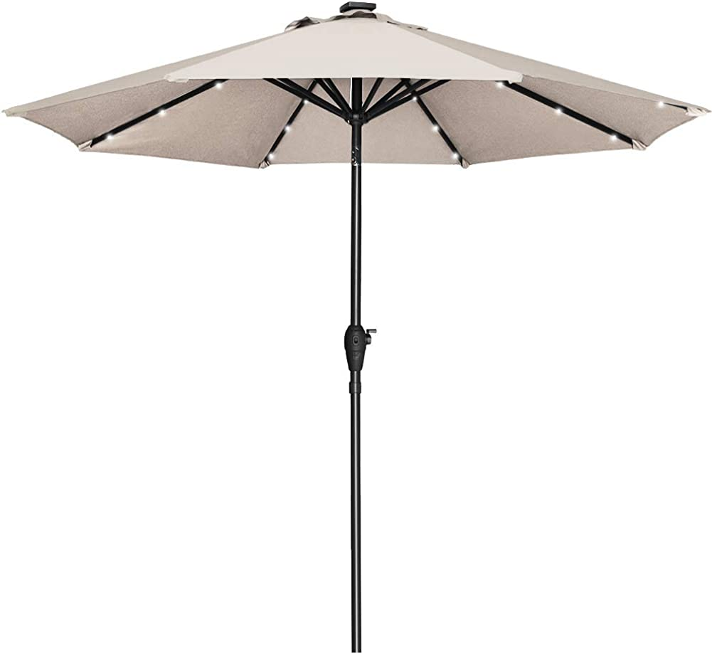 Mefo garden 9ft Solar Umbrellas with 24 LED lights Aluminum Market Outdoor Table Umbrella Patio Umbrella with Crank Handle Tilt System