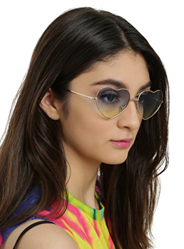 Blue & Yellow Lens Gold Heart Frame - Sunglasses Hot Topic