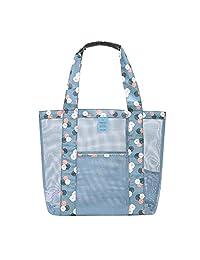 Baiyu Mesh Tote Beach Bag Handbag Shoulder Bags with Large Pocket Shopping Bag Swimming Tote Bag Travel Bag Admission Package for Women Kids Size 350*350mm--Blue