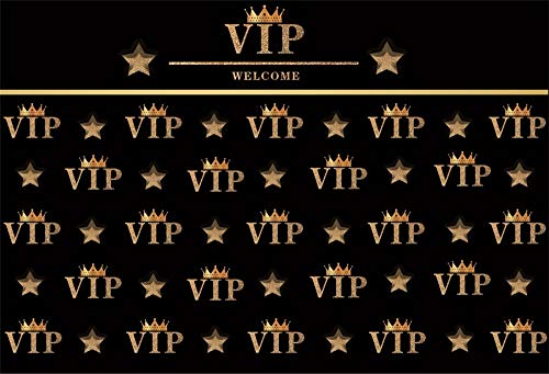 AOFOTO 9x6ft VIP Happy Birthday Backdrop for Adults Party Man Woman Bday Bash Celebration Wallpaper Golden Crown Red Carprt Events Photoshoot Background Photo Studio Props Vinyl -