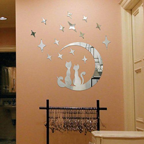 Sinohomie 2018 DIY Cat Modern Star Cute Acrylic Mirror Sticker Bedroom Kids 15PCS star 1 pc moon -
