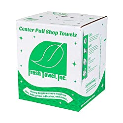 "FT500 Center Pull Shop Towels, 9"" Width x 12"" Length, White (1 Box of 300 Towels)"