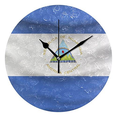 Nicaragua Flag 9.5 Inch Decorative Wall Clock, Quartz Batter