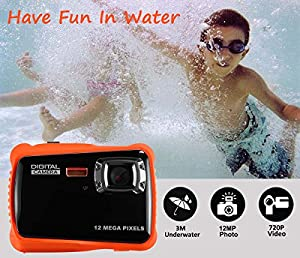 Waterproof Digital Camera for Kids, LINNNZI 12MP HD Underwater Action Camera Camcorder with 2.0 Inch LCD Display, 8x Digital Zoom, Flash and Mic by LINNNZI