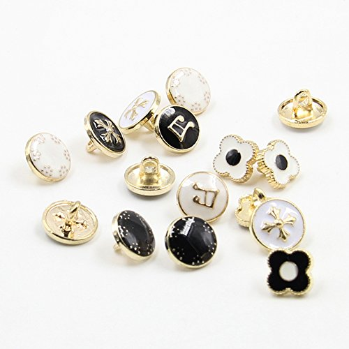 10 x Metal Shank Back Button ResinRound Button for Women Shirt Sweater Blazer Fashion Clothes 10mm, - Mall Planes White