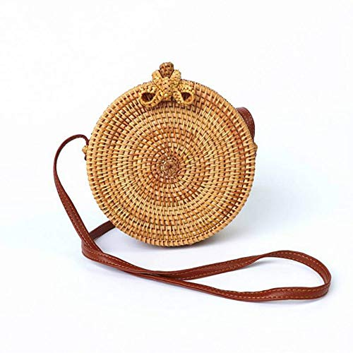 Kbinter Handwoven Round Rattan Straw Bag for Women Shoulder Leather Button Straps Natural Chic Handmade Boho Bag Bali Purse (Bow-Tie) ()