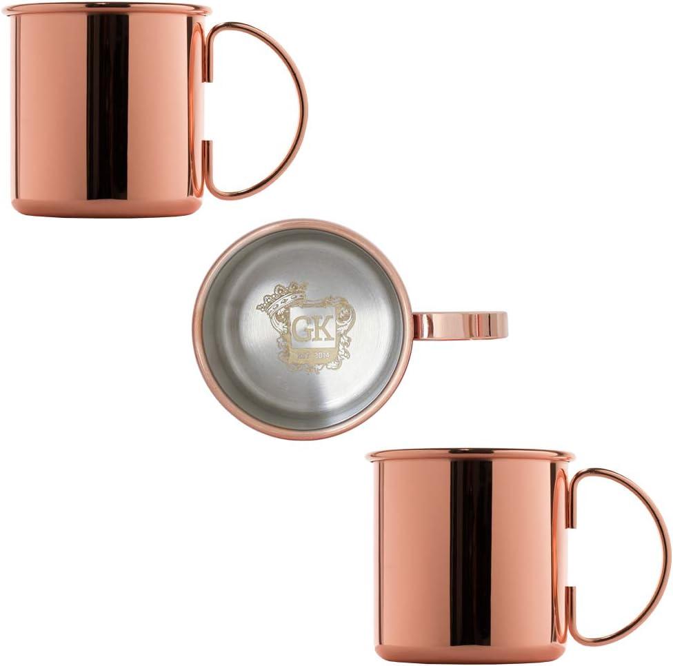 interno in acciaio inox ALANDIA Tazza di Rame Set di 2 Qualit/à Premium Esterno ramato Oro rosa quindi facile da pulire