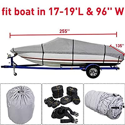 Cherry Queen New 17-19 Ft Waterproof Heavy Duty Fabric Trailerable V shape Boat Cover Gray
