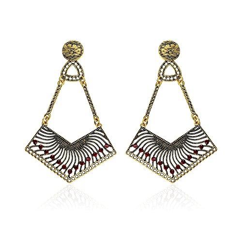 Lureme Classic Vintage Jewelry Metal Chandelier Inlay Crystal Rhinestones Dangle Earrings (er005742)