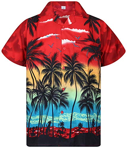 V.H.O. Funky Hawaiian Shirt, Shortsleeve, Beach, Red, 10XL