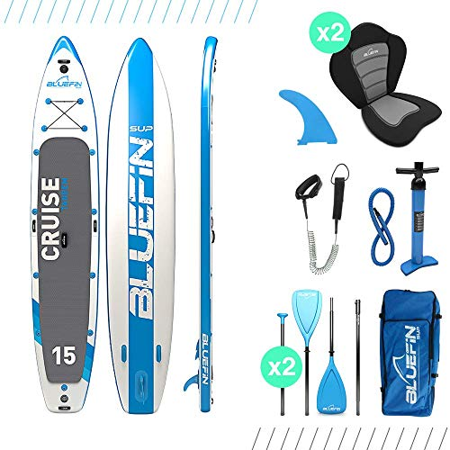 Bluefin SUP Stand Up Inflatable Paddle Board with Kayak Conversion Kit | Ultimate iSUP Kayak Bundle (10'8' and 12'0') (Blue 15')
