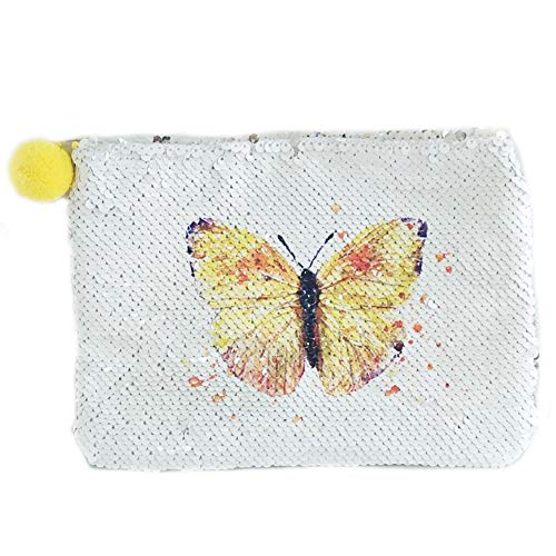 FanRich Ladies Fashion Mermaid Reversible Sequin Cosmetic Makeup Bag Clutch Handbag Glitter Coin Cards Holder Purse Wallet Pencil Pouch for Girl (Butterfly-Silver) by FanRich