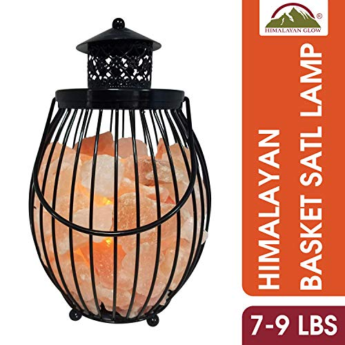 Himalayan Glow Lantern Style Basket Salt Lamp with Pink Salt Chunks,Pink Salt Nightlight,Salt Lamp Bulb,(ETL Certified) Dimmer Switch,Pleasant & Relaxing Amber Glow | 7-9 LBS