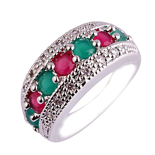 Empsoul 925 Sterling Silver Natural Chic Filled Garnet and Green Topaz Engagement Ring