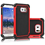 Tekcoo for Galaxy S6 Case, [Tmajor Series] [Red/Black] Shock Absorbing Hybrid Rubber Plastic Impact Defender Rugged Slim Hard Case Cover Shell for Samsung Galaxy S6 S VI G9200 GS6 All Carriers