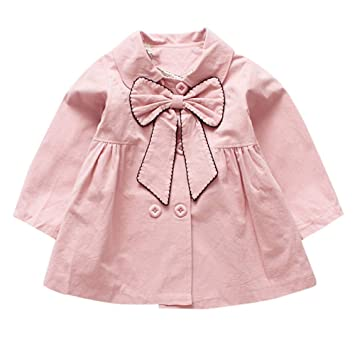 970bea6c8 Amazon.com  Fall Winter Bow Coat For Infant Toddler Children Baby ...