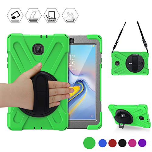 BRAECN Galaxy Tab A 8.0 2018 CASE, Adjustable Shoulder Strap/Built-in Kickstand/Rotating Hand Strap Heavy Duty Full-Body Drop Protection Case for Child Samsung Galaxy Tab A 8.0 SM-T387 2018 (Green)