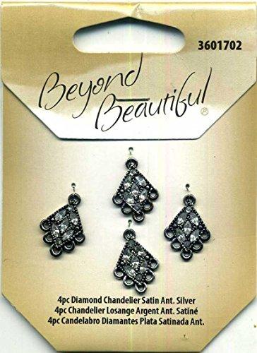 (Beyond Beautiful 4pc Diamond Chandeller Satin Antique Silver)