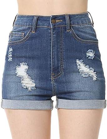 Amazon.com: cunlin pantalones cortos de mezclilla de cintura ...