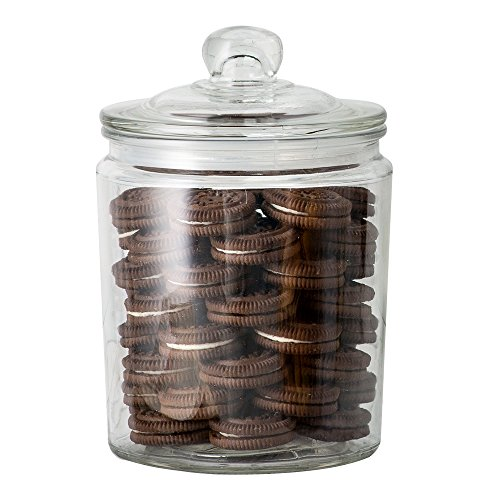 KooK Glass Storage Canister, Clear Jar, With Clear Glass Airtight Lid- 1/2 Gallon