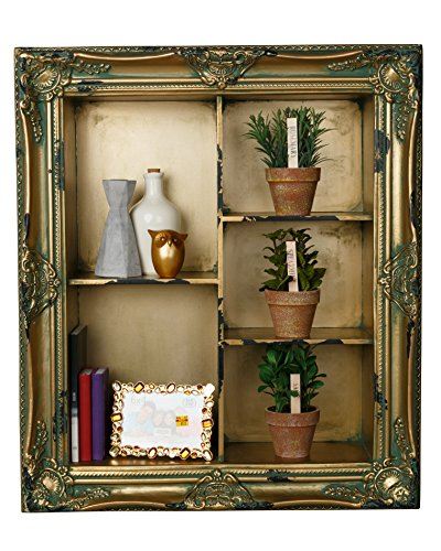 AdirHome Antique Wood Wall Shelf with 5 Multi-level Sections
